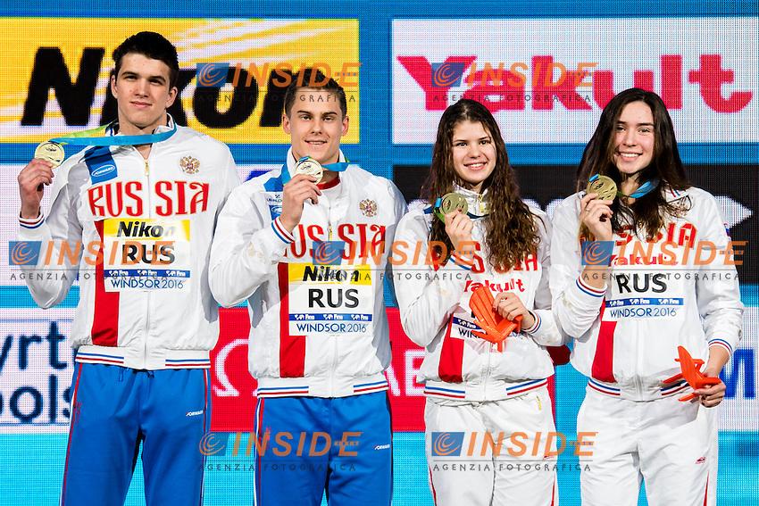 Russia RUS Gold Medal <br /> BRIANSKII Aleksei (M) MOROZOV Vladimir (M) <br /> KAMENEVA Mariia (W) NASRETDINOVA Rozaliya (W)<br /> Mixed 4x50m Freestyle Relay <br /> 13th Fina World Swimming Championships 25m <br /> Windsor  Dec. 7th, 2016 - Day02 Finals<br /> WFCU Centre - Windsor Ontario Canada CAN <br /> 20161207 WFCU Centre - Windsor Ontario Canada CAN <br /> Photo &copy; Giorgio Scala/Deepbluemedia/Insidefoto