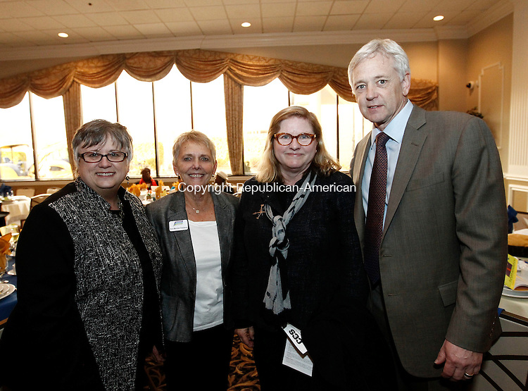 Waterbury, CT- 08 April 2014-040814CM05- SOCIAL MOMENTS--- Left to right,  Paul Van Ness, Ann Merriam Feinberg from the CT Community Foundation along with Pam and Jack Baker (from the CT Community Foundation) photographed during the Children's Community School celebration for its 45th year during an annual dinner at La Bella Vista, Pontelandolfo Club, Farmwood Road, on Tuesday, April 8.   Christopher Massa Republican-American