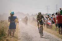 emerging from the dust on pav&eacute; sector #6<br /> <br /> Stage 9: Arras Citadelle &gt; Roubaix (154km)<br /> <br /> 105th Tour de France 2018<br /> &copy;kramon