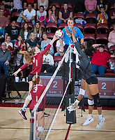 STANFORD, CA - November 2, 2018: Meghan McClure at Maples Pavilion. No. 1 Stanford Cardinal defeated No. 15 Colorado Buffaloes 3-2.