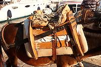 Pack Ponies saddles close up on Hydra, Greek Saronic Islands