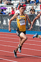 Ray-Pec junior Micah Beaver runs to victory in the 100-meter dash in 10.84 with +1.7mph wind at the 2015 Kansas Relays to secure a bid to the Adidas Grand Prix Dream 100 in New York City in June.