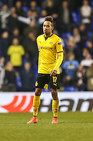 Scorer of two goals, Pierre-Emerick Aubameyang of Borussia Dortmund during the UEFA Europa League match between Tottenham Hotspur and Borussia Dortmund at White Hart Lane, London, England on 17 March 2016. Photo by David Horn / PRiME Media Images