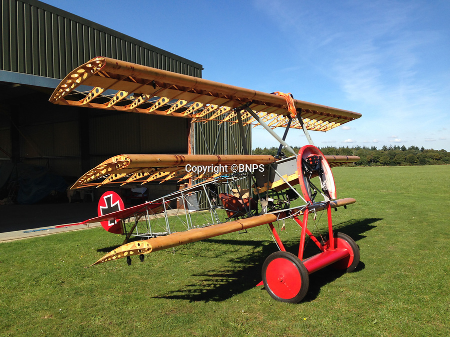 BNPS.co.uk (01202 558833)<br /> Pic: PhilYeomans/BNPS<br /> <br /> Taking shape - the uncovered skeleton of the Dreidecker. <br /> <br /> Dreaded Red Baron to fly again...WW1 Ace's feared 'Fokker Dreidecker' to finally fly over Britain.<br /> <br /> A German GP based in Norfolk has spent 8 years building a Fokker triplane in his garage as a tribute to infamous WW1 Ace Manfred von Ricthofen, who terrorised the skies over the Western front during the first war.<br /> <br /> Dr Peter Brueggemann, 52, will fulfil his childhood dream and emulate the notorious German fighter pilot when the Dreidecker Dr.1 fighter finally achieves lift-off this summer.<br /> <br /> Dr Brueggemann has even acquired the title Baron from the independent territory of Sealand so he can take to the skies as Baron Peter von Brueggemann in homage to his idol.<br /> <br /> The GP at the Holt Medical Practice in Norfolk hopes to be airborne in a few months once tests on the engine are completed at Felthorpe airfield near Norwich where he has devoted thousands of hours to the project.<br /> <br /> The father-of-two, who has lived in England with wife Sue for 20 years, has been taking flying lessons since his project began.