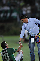 MEDELLÍN -COLOMBIA-03-08-2013.  Wilson Gutiérrez técnico de Santa Fe gesticula durante partido contra Atlético Nacional válido para la  fecha 2 de la Liga Postobón II 2013 jugado en el estadio Atanasio Girardot de la ciudad de Medellín./ Santa Fe coach Wilson Gutierrez gestures during match against Atletico Nacional valid for the 2th date of the Postobon League II 2013 at Atanasio Girardot stadium in Medellin city.  Photo:VizzorImage/Luis Ríos/STR