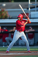 Anthony Ray (4) of the Johnson City Cardinals at bat against the Burlington Royals at Burlington Athletic Park on August 22, 2015 in Burlington, North Carolina.  The Cardinals defeated the Royals 9-3. (Brian Westerholt/Four Seam Images)