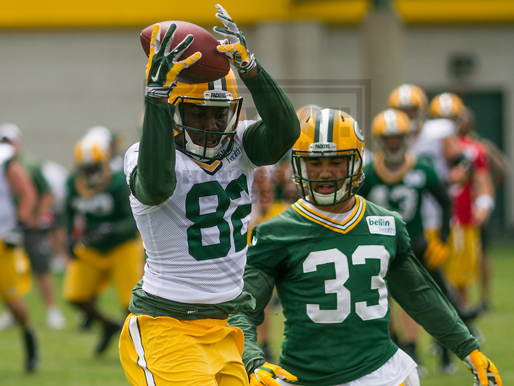 GREEN BAY - June 2015: Green Bay Packers wide receiver Jimmie Hunt (82) during a minicamp practice on June 18th, 2015 at Clarke Hinkle Field in Green Bay, Wisconsin. (Brad Krause/Krause Sports Photography)