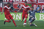 14.04.2019, Merkur Spielarena, Duesseldorf , GER, 1. FBL,  Fortuna Duesseldorf vs. FC Bayern Muenchen,<br />  <br /> DFL regulations prohibit any use of photographs as image sequences and/or quasi-video<br /> <br /> im Bild / picture shows: <br /> Javi Martinez (Bayern Muenchen #8),   im Zweikampf gegen  Dawid Kownacki (Fortuna Duesseldorf #27),  <br /> <br /> Foto &copy; nordphoto / Meuter