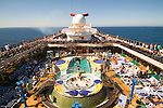 The top deck of a Carnival Spirit cruiseship