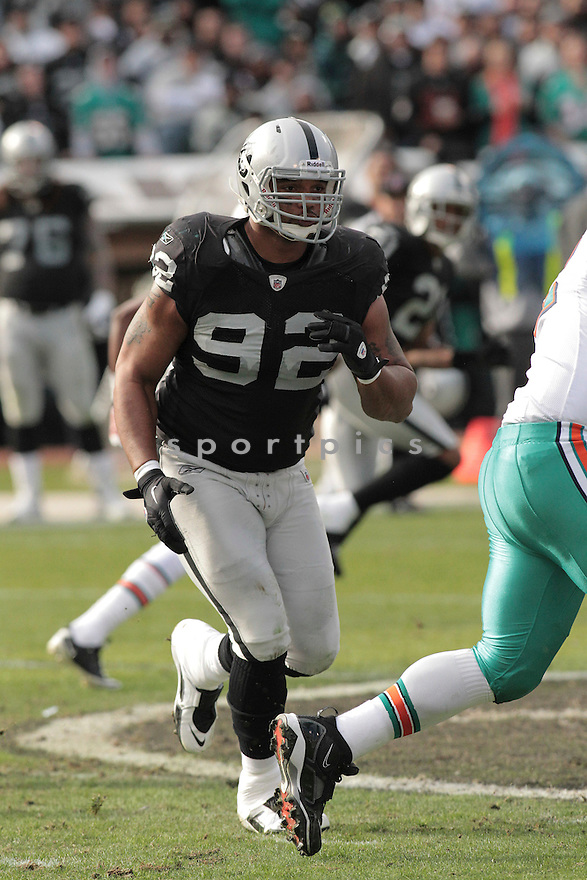 RICHARD SEYMOUR, of the Oakland Raiders in action durIng the Raiders game against the Miami Dolphins at Oakland-Alameda County Coliseum in Oakland, California, on November 28, 2010....Dolphins beat the Raiders 33-17