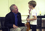 TV SHIMKUS AND SON.Congressman John Shimkus listens to his son speak about his violin lesson..BND/TIM VIZER