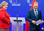 BRUSSELS - BELGIUM - 21 January 2015 -- Erna SOLBERG, Prime Minister of Norway visiting Donald TUSK, President of the European Council. Here during their press conference. -- Photo: Juha ROININEN / EUP-IMAGES / Prime Ministers Office