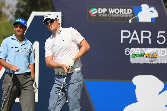 David Howell (ENG) and Marc Warren (SCO) on the 14th during the 2nd round of the season ending DP World Tour Championship, Earth Course, Jumeirah Golf Estates, Dubai, UAE.  20/11/2015.<br /> Picture: Golffile | Fran Caffrey<br /> <br /> <br /> All photo usage must carry mandatory copyright credit (&copy; Golffile | Fran Caffrey)