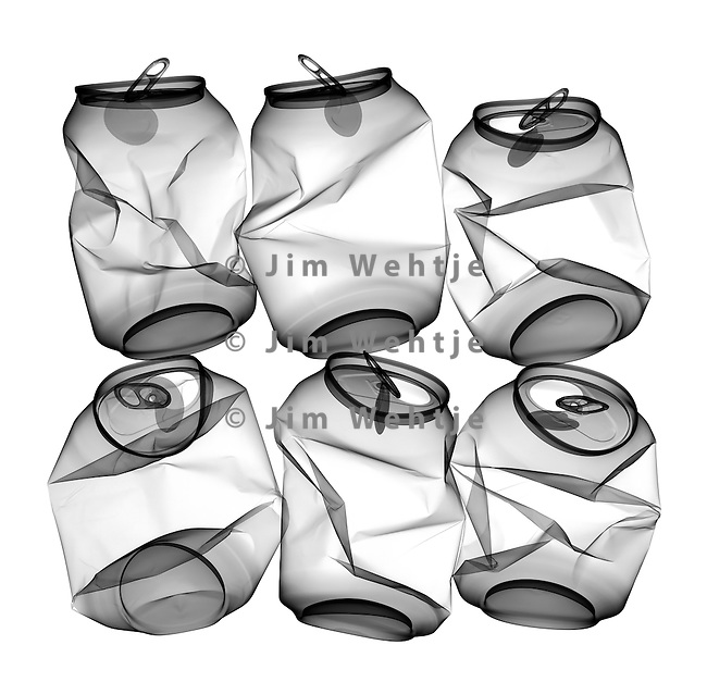 X-ray image of can six-pack (black on white) by Jim Wehtje, specialist in x-ray art and design images.