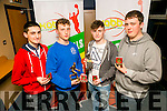 l-r  Conor Horan, Division 3 League Medal, Thomas Scanlon, Cup Final MVP in Division 3, Thomas Sexton, Division 3 Player Of The Year and Captain Sean Scanlon, St Joseph's Division 3 Mens League at the KABB Basketball awards night at the Kingdom Greyhound Stadium on Tuesday