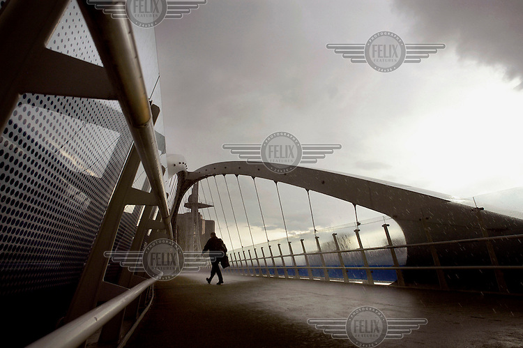The Millennium Bridge at Salford Quays.
