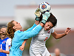 Roxana goalkeeper Braeden Lackey (left) collided with Wesclin player Tori Calvert in the goal box. A foul was called on Calvert on the play. Roxana High School defeated Wesclin High School 3-2 to win the Class 1A Girls Soccer Regional at Breese Central High School on Friday May 11, 2018. Tim Vizer | Special to STLhighschoolsports.com