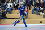 Mannheim, Germany, December 03: During the 1. Bundesliga Damen Hallensaison 2017/18 Sued  hockey match between Mannheimer HC (blue) and TSV Mannheim (red) on December 3, 2017 at Irma-Roechling-Halle in Mannheim, Germany. Final score 10-5. (Photo by Dirk Markgraf / www.265-images.com) *** Local caption ***