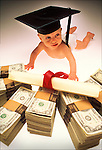 Baby with graduation hat and money