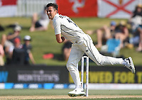 24th November 2019; Mt Maunganui, New Zealand;  Trent Boult bowling on day 4 of the 1st international cricket test match, New Zealand versus England at Bay Oval, Mt Maunganui, New Zealand.  - Editorial Use
