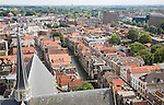 Raised oblique aerial view over historic rooftops in the city centre, Dordrecht, Netherlands
