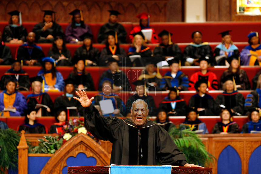 Bill Cosby speaks during Spelman College's 119th commencement exercise at The Cathedral at Chapel Hill. During his commencement address, Cosby urged the graduates of the women's college to take control of, and responsibility for, black communities.<br />