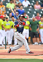Daniel Johnson of the Hagerstown Sun swings at a pitch during the home run derby as part of the All Star Game festivities at Spirit Communications Park on June 19, 2017 in Columbia, South Carolina. The Soldiers defeated the Celebrities 1-0. (Tony Farlow/Four Seam Images)