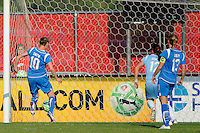 Kelly Smith (10) of the Boston Breakers scores during the first half. Sky Blue FC defeated the Boston Breakers 2-1 during a Women's Professional Soccer match at Yurcak Field in Piscataway, NJ, on May 31, 2009.