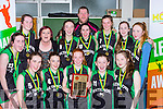 The Rathmore team celebrate winning the u16 final at the  County basketball finals in Killarney on Sunday front row l-r: Julie Moynihan, Megan O'connor, Katie Horgan, Eimear Nagle, Rebecca Twomey, back Ciara Murphy, jessica Sheehan, Shirley nagle, Brid O'Conor, Elaine Nagle, jeremy Lynch Katie Buckley, Shauna Fleming,