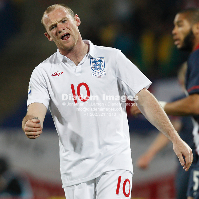 RUSTENBURG, SOUTH AFRICA - JUNE 12:  Wayne Rooney of England reacts to a missed opportunity against the United States during a 2010 FIFA World Cup soccer match June 12, 2010 in Rustenburg, South Africa.  NO mobile use.  Editorial ONLY.  (Photograph by Jonathan P. Larsen)