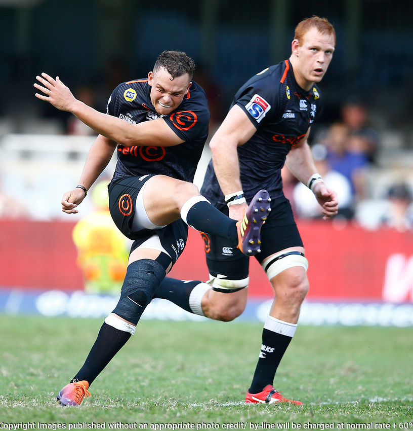 Curwin Bosch of the Cell C Sharks during the super rugby match between the Cell C Sharks and the Queensland Reds at Jonsson Kings Park Stadium in Durban, South Africa 19th April 2019. Photo: Steve Haag / stevehaagsports.com
