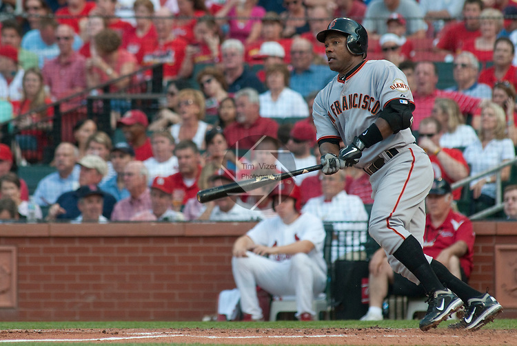 31 May 2011            San Francisco Giants shortstop Miguel Tejada (10)watches the ball during an early at-bat. The St. Louis Cardinals defeated the San Francisco Giants 4-3 on Tuesday May 31, 2011 in the second game of a four-game series at Busch Stadium in downtown St. Louis.