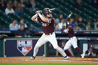 Justin Foscue (17) of the Mississippi State Bulldogs at bat against the Louisiana Ragin' Cajuns in game three of the 2018 Shriners Hospitals for Children College Classic at Minute Maid Park on March 2, 2018 in Houston, Texas.  The Bulldogs defeated the Ragin' Cajuns 3-1.   (Brian Westerholt/Four Seam Images)
