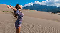 Gabriela embracing the great outdoors at the Great Sanddunes National Park and Preserve in CO. Joy, freedom, lightness and beauty at their very best.
