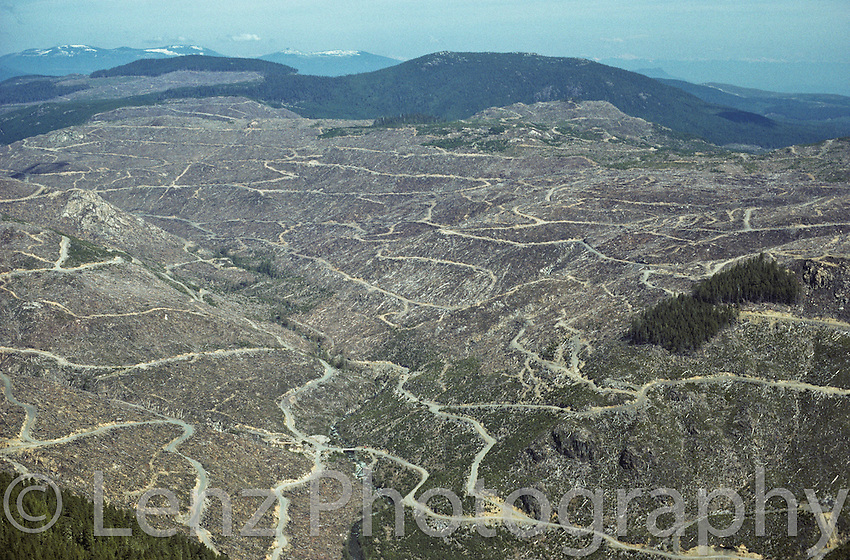 """Extensive cearcutting in the San Juan Valley on southern Vancouver Island near Victoria. This image was used extensively with the title """"Brazil Of The North"""" to bring international attention to B.C. logging practices. In the middle foreground, a once productive salmon stream can be seen."""