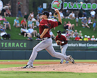 Starting pitcher Jonas Dufek (41) of the Lexington Legends, a Houston Astros affiliate, in a game against the Greenville Drive on July 19, 2012, at Fluor Field at the West End in Greenville, South Carolina. Greenville won, 11-10 in 15 innings. (Tom Priddy/Four Seam Images)