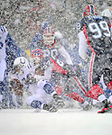 3 January 2010: Indianapolis Colts' running back Mike Hart is tackled during a game against the Buffalo Bills on a cold, snowy, final game of the season at Ralph Wilson Stadium in Orchard Park, New York. The Bills defeated the Colts 30-7. Mandatory Credit: Ed Wolfstein Photo