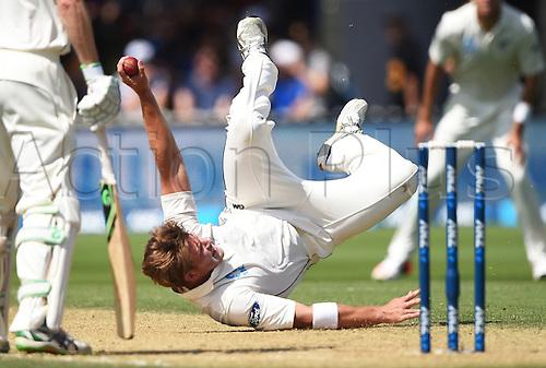 14.02.2016. Basin Reserve, Wellington, New Zealand. New Zealand versus Australia First Test. New Zealand versus Australia First Test.Corey Anderson takes a catch to dismiss Lyon.