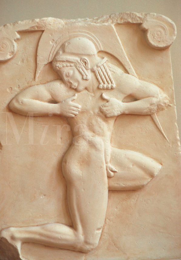 Relief of the hoplitodromos. Marble plaque of a running hoplite. Probably part of a funerary monument in Athens, ca. 500 B.C