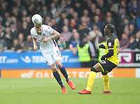 Bolton Wanderers Mark Beevers in action with Burton Albion's Marven Sordell<br /> <br /> Photographer Mick Walker/CameraSport<br /> <br /> The EFL Sky Bet Championship - Burton Albion v Bolton Wanderers - Saturday 28th April 2018 - Pirelli Stadium - Burton upon Trent<br /> <br /> World Copyright &copy; 2018 CameraSport. All rights reserved. 43 Linden Ave. Countesthorpe. Leicester. England. LE8 5PG - Tel: +44 (0) 116 277 4147 - admin@camerasport.com - www.camerasport.com