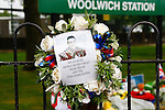 LONDON, ENGLAND, 22 May ,2014.  A wreath outside Woolwich Barracks to mark the first anniversary of the murder of Fusilier Lee Rigby  near his Woolwich barracks.