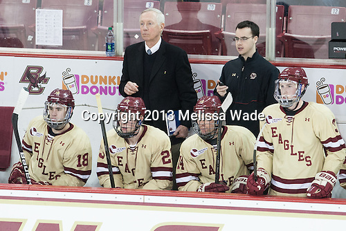 Michael Sit (BC - 18), Patrick Brown (BC - 23), Jerry York (BC - Head Coach), Brooks Dyroff (BC - 14), Tom Maguire (BC - Senior Manager), Patch Alber (BC - 3) - The Boston College Eagles defeated the visiting University of Vermont Catamounts 4-2 (EN) in the first game of their best of three Hockey East quarterfinal matchup on Friday, March 15, 2013, at Kelley Rink in Conte Forum in Chestnut Hill, Massachusetts.