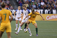 Seattle, WA - Thursday July 27, 2017: Samantha Mewis and7 Chloe Logarzo during a 2017 Tournament of Nations match between the women's national teams of the United States (USA) and Australia (AUS) at CenturyLink Field.