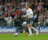 DaMarcus Beasley, David Beckham (white). The United States Men's National Team lost to England 2-0 in an international friendly at Wembley Stadium, London, England. May 28, 2008.