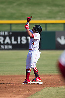 Mesa Solar Sox second baseman Jahmai Jones (9), of the Los Angeles Angels organization, celebrates after hitting a double during an Arizona Fall League game against the Peoria Javelinas at Sloan Park on October 24, 2018 in Mesa, Arizona. Mesa defeated Peoria 4-3. (Zachary Lucy/Four Seam Images)
