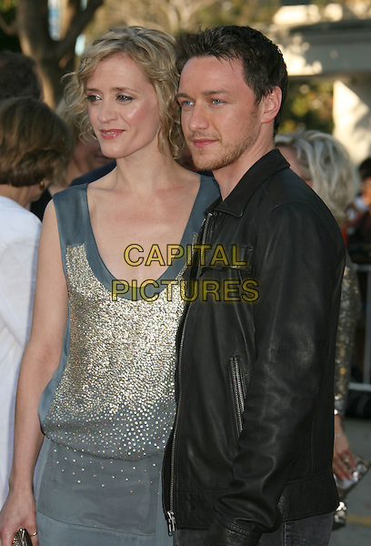 "ANNE MARIE DUFF & JAMES McAVOY.2008 Los Angeles Film Festival - ""Wanted"" Premiere held at Mann Village Theater, Westwood, California, USA..June 19th, 2008.half length stubble facial hair black leather jacket blue dress gold silver married husband wife .CAP/ADM/MJ.©Michael Jade/AdMedia/Capital Pictures."