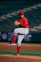 AZL Angels starting pitcher Jose Natera (70) during an Arizona League game against the AZL Padres 1 on July 16, 2019 at Tempe Diablo Stadium in Tempe, Arizona. The AZL Padres 1 defeated the AZL Angels 3-1. (Zachary Lucy/Four Seam Images)
