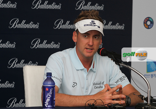 Ian Poulter (ENG) in the interview room ahead of the Ballantines Championship 2012 at Blackstone Golf Course, Icheon, Korea...(Photo Jenny Matthews/www.golffile.ie)