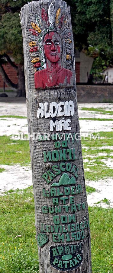 Totem na Aldeia Mae na Reserva indigena do Monte Pascoal, Caraiva. Bahia. 2015. Foto de Ubirajara Machado.