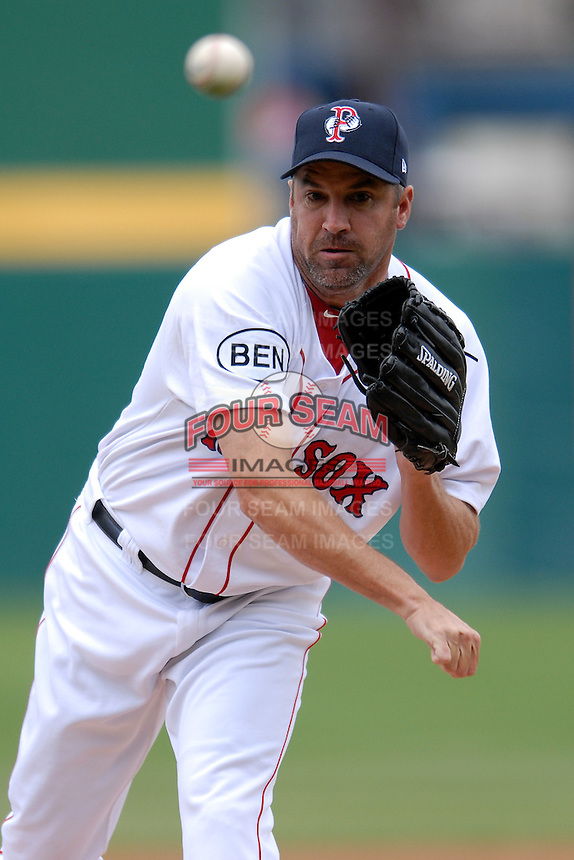 Pitcher Scott Atchison #48 of the Pawtucket Red Sox during a game versus the Buffalo Bisons on 4-17-11 at McCoy Stadium in Pawtucket, Rhode Island. Photo by Ken Babbitt /Four Seam Images